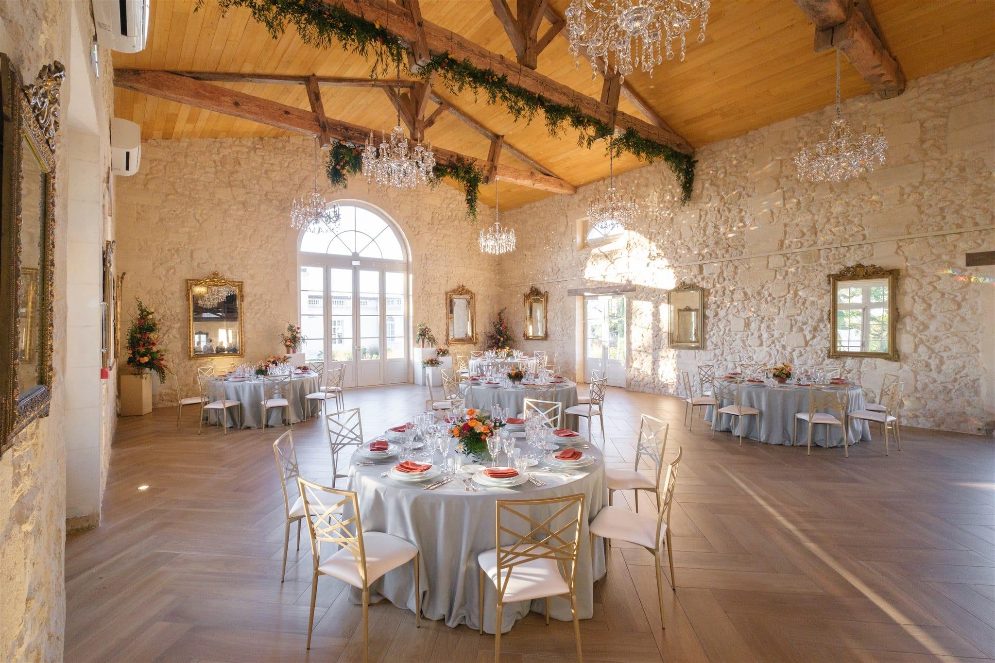 Décoration de mariage en hiver au Château Gassies