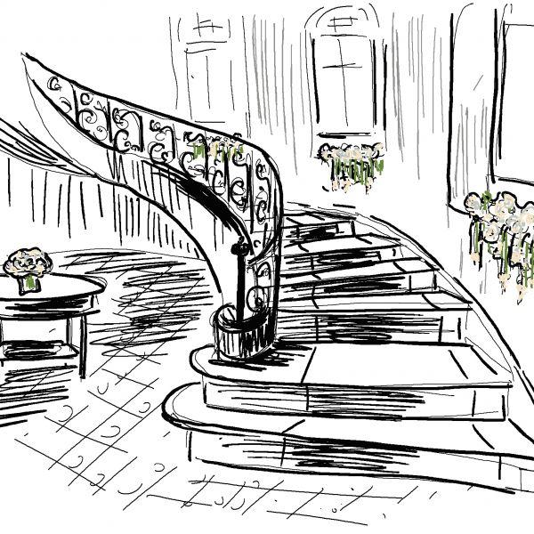 Croquis décoration floral escalier, Château Clair de Lune, Biarritz