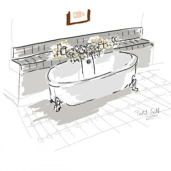 Croquis décoration floral, wedding design Château Clai de Lune, Biarritz